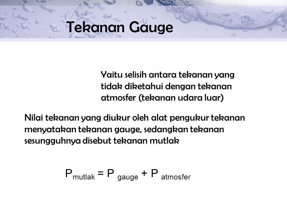 Tekanan Gauge Pmutlak = P gauge + P atmosfer