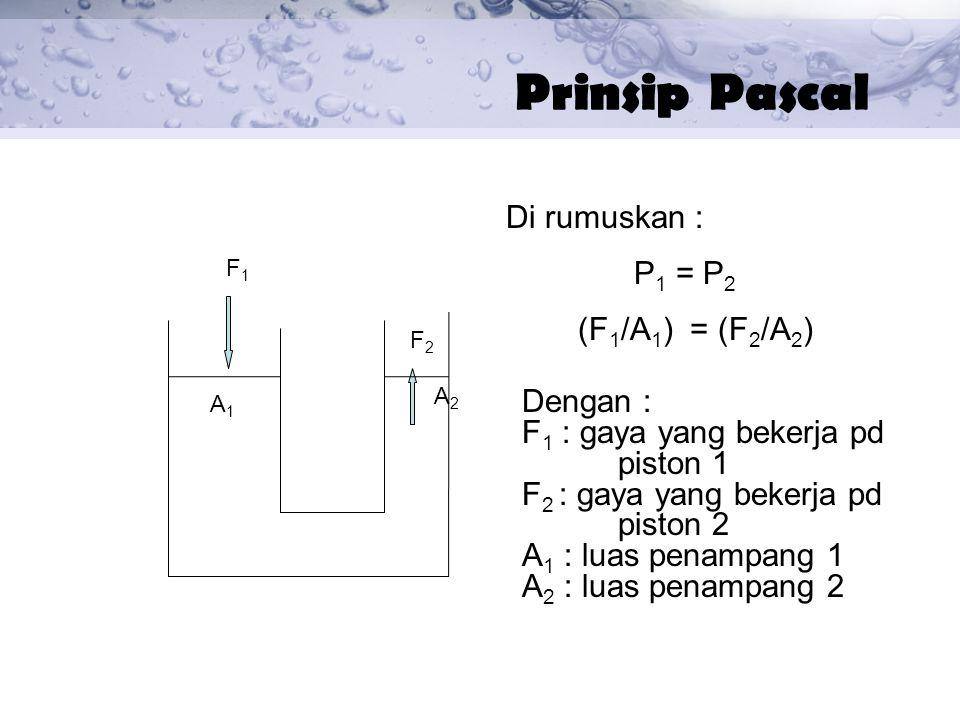 Prinsip Pascal Di rumuskan : P1 = P2 (F1/A1) = (F2/A2) Dengan :