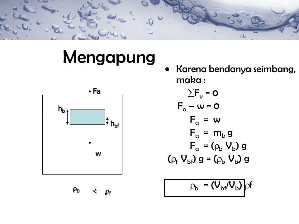 Mengapung Karena bendanya seimbang, maka : Fy = 0 Fa – w = 0 Fa = w