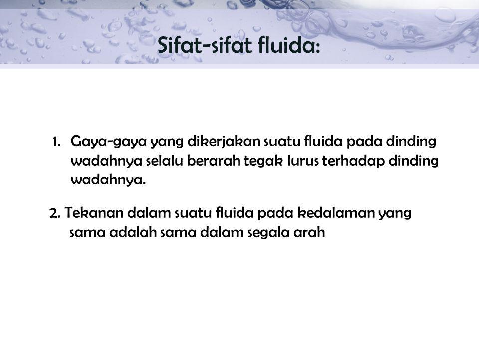 Sifat-sifat fluida: Gaya-gaya yang dikerjakan suatu fluida pada dinding wadahnya selalu berarah tegak lurus terhadap dinding wadahnya.