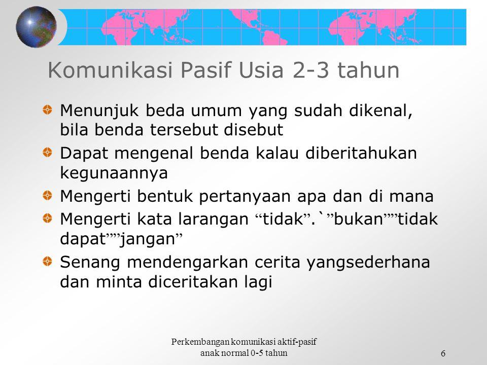 Komunikasi Pasif Usia 2-3 tahun