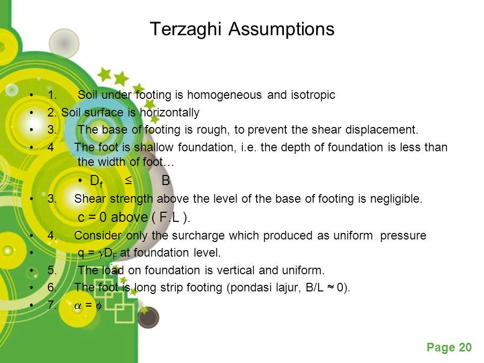 Terzaghi Assumptions Df ≤ B c = 0 above ( F.L ).