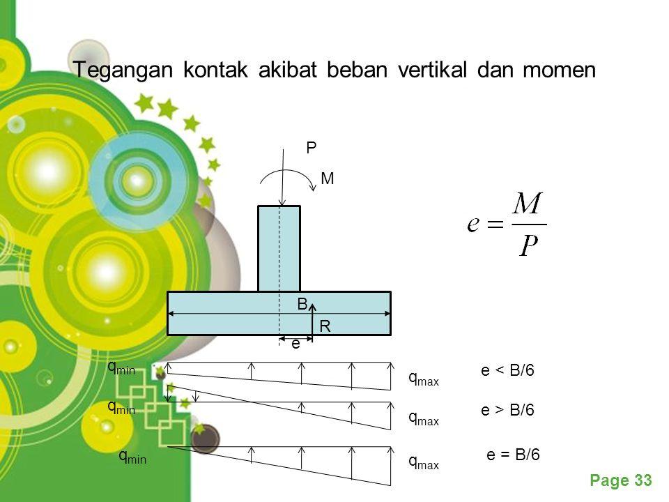 Tegangan kontak akibat beban vertikal dan momen