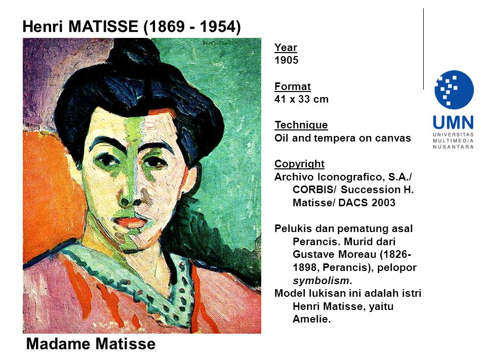 Henri MATISSE (1869 - 1954) Madame Matisse Year 1905 Format 41 x 33 cm