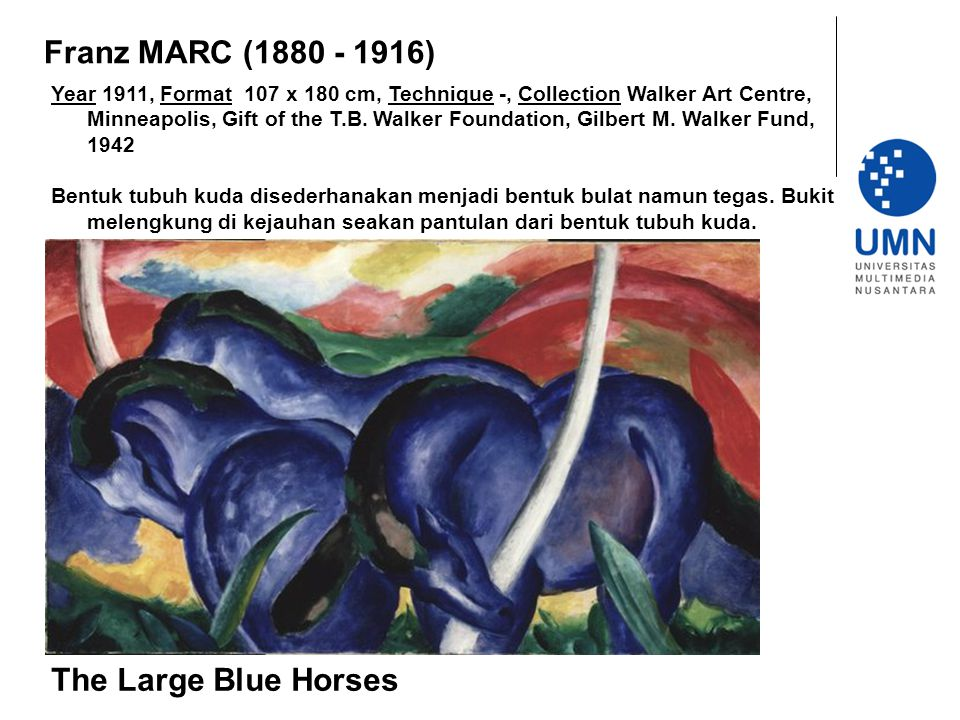 Franz MARC (1880 - 1916) The Large Blue Horses
