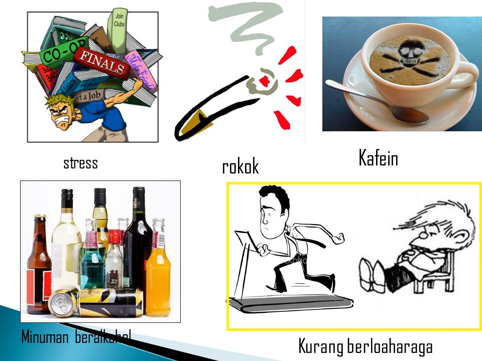 Kafein stress rokok Minuman beralkohol Kurang berloaharaga