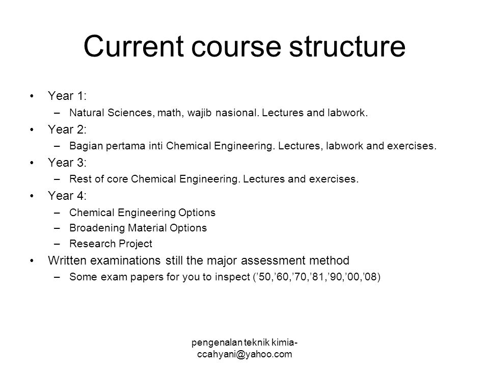 Current course structure