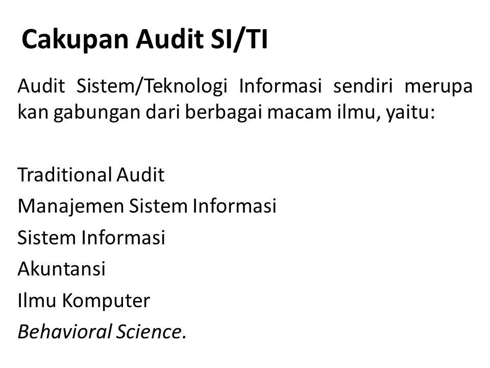 Cakupan Audit SI/TI