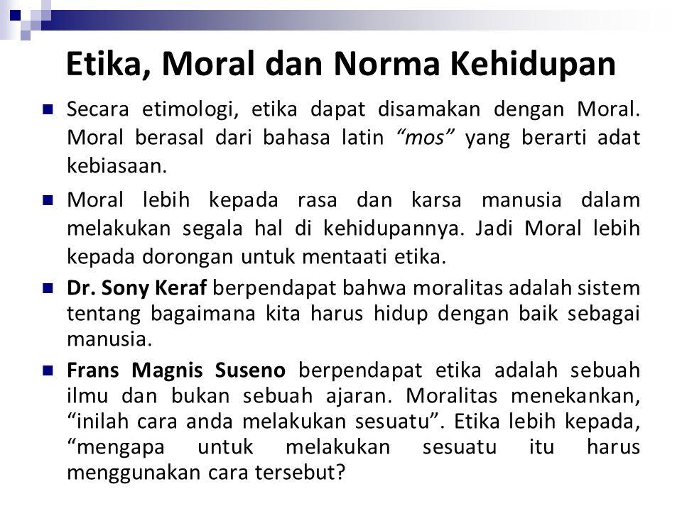 Etika, Moral dan Norma Kehidupan