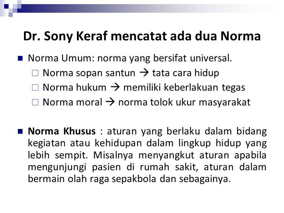 Dr. Sony Keraf mencatat ada dua Norma