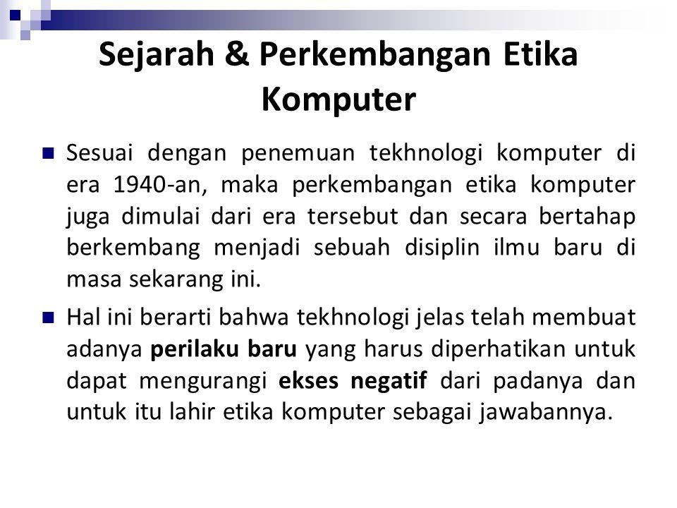 Sejarah & Perkembangan Etika Komputer