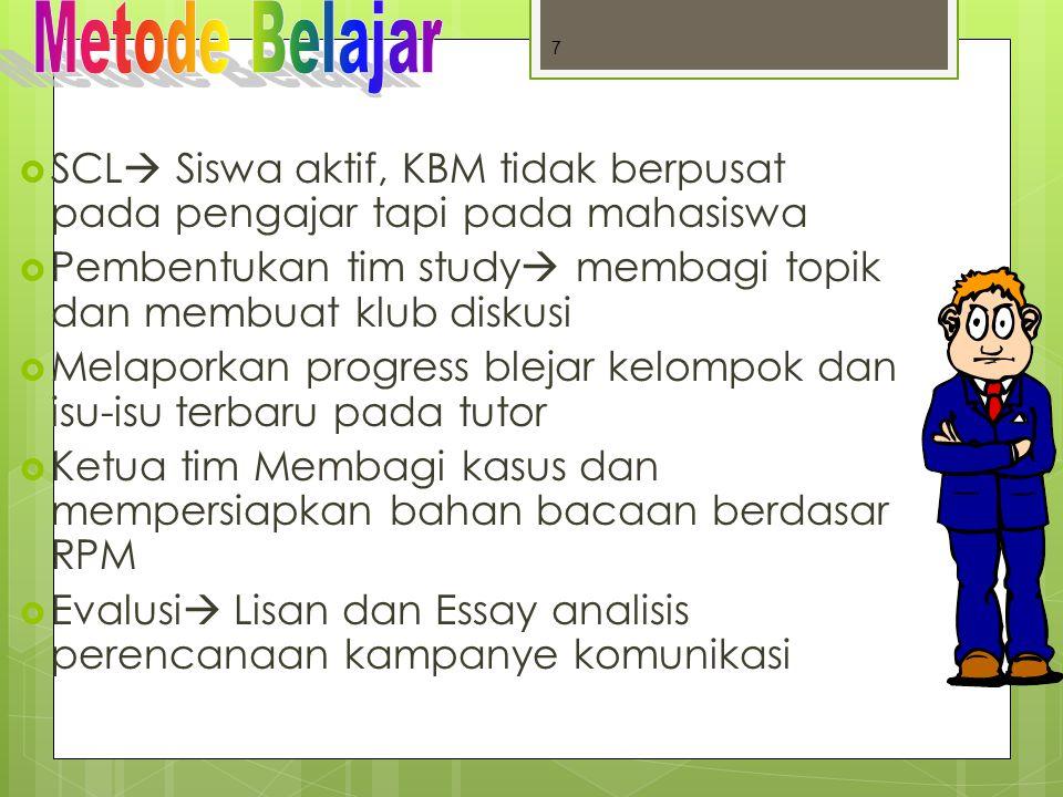 SCL Siswa aktif, KBM tidak berpusat pada pengajar tapi pada mahasiswa