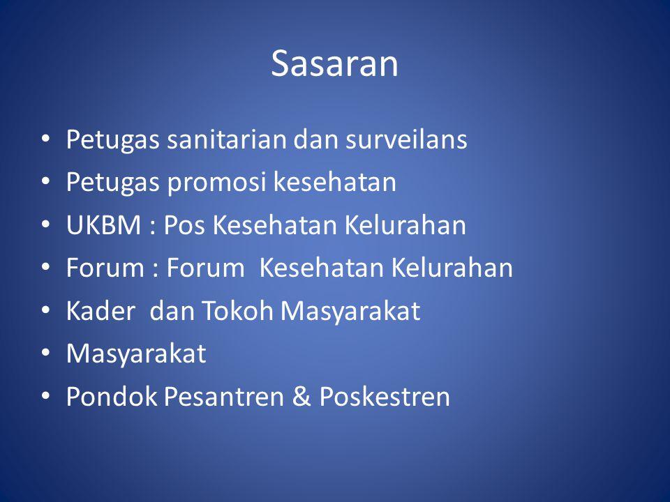 Sasaran Petugas sanitarian dan surveilans Petugas promosi kesehatan