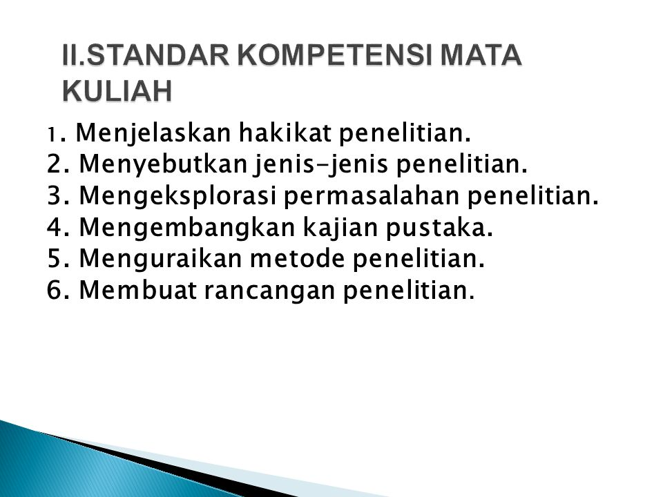 II.STANDAR KOMPETENSI MATA KULIAH