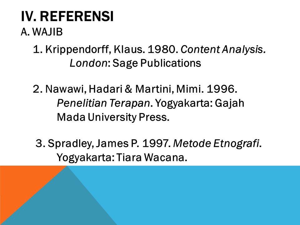 IV. REFERENSI WAJIB. 1. Krippendorff, Klaus. 1980. Content Analysis. London: Sage Publications.