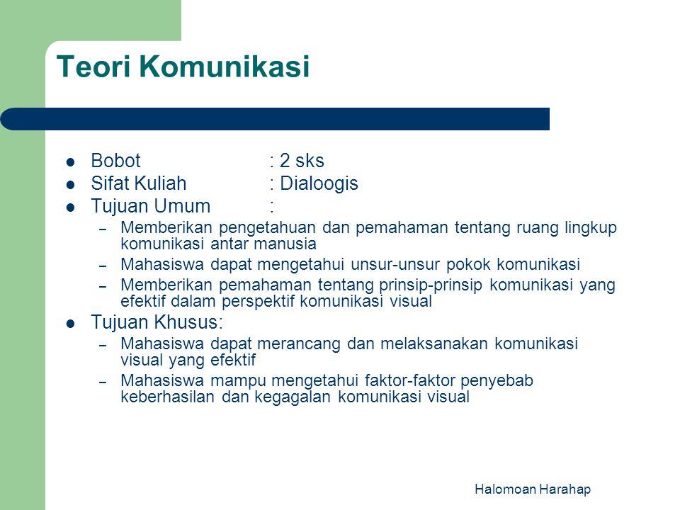 Teori Komunikasi Bobot : 2 sks Sifat Kuliah : Dialoogis Tujuan Umum :