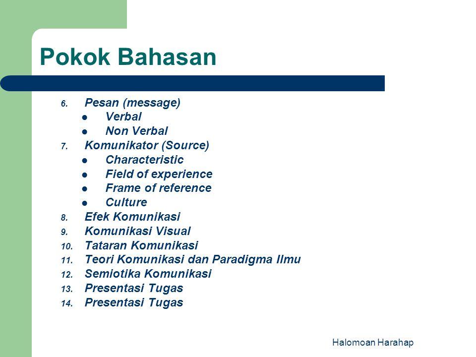 Pokok Bahasan Pesan (message) Verbal Non Verbal Komunikator (Source)