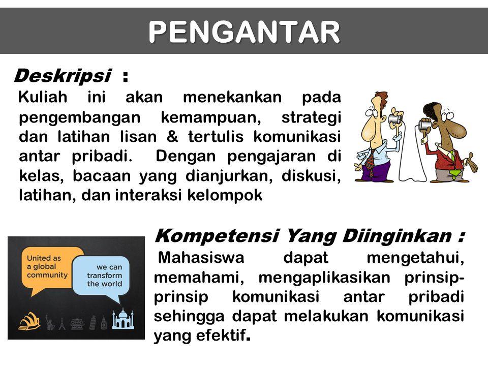 PENGANTAR Deskripsi : Kompetensi Yang Diinginkan :