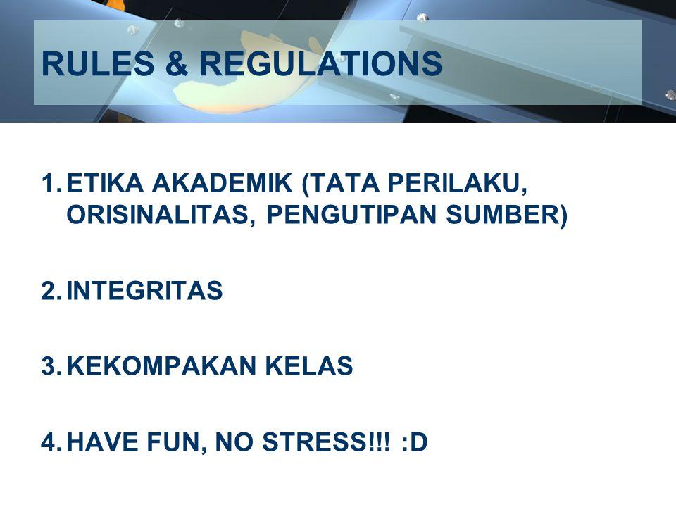 RULES & REGULATIONS ETIKA AKADEMIK (TATA PERILAKU, ORISINALITAS, PENGUTIPAN SUMBER) INTEGRITAS. KEKOMPAKAN KELAS.