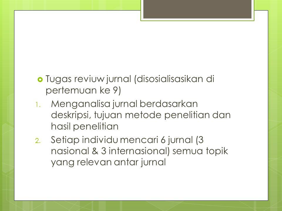 Tugas reviuw jurnal (disosialisasikan di pertemuan ke 9)