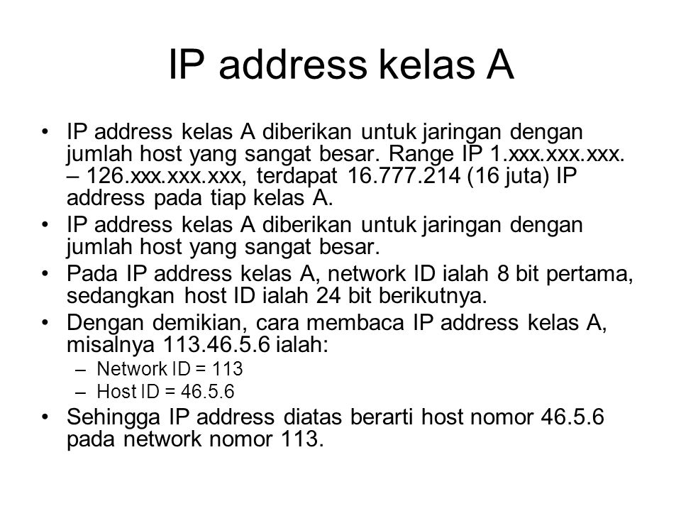 IP address kelas A