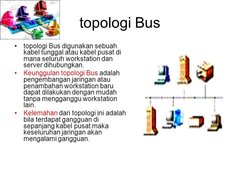 topologi Bus topologi Bus digunakan sebuah kabel tunggal atau kabel pusat di mana seluruh workstation dan server dihubungkan.