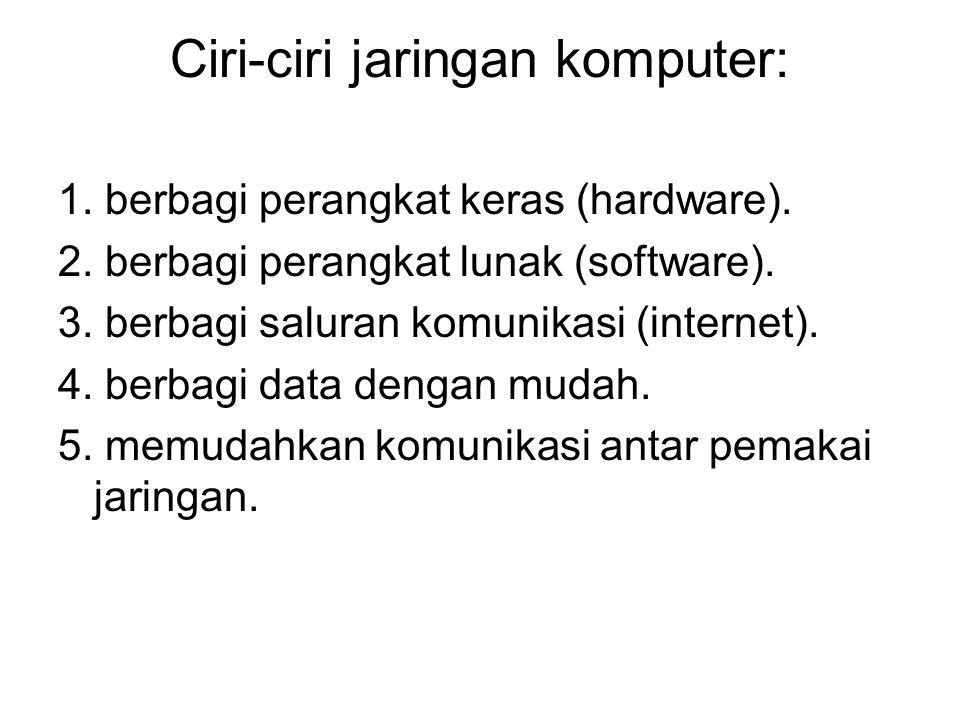 Ciri-ciri jaringan komputer: