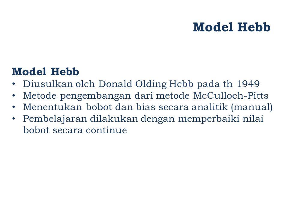 Model Hebb Model Hebb Diusulkan oleh Donald Olding Hebb pada th 1949