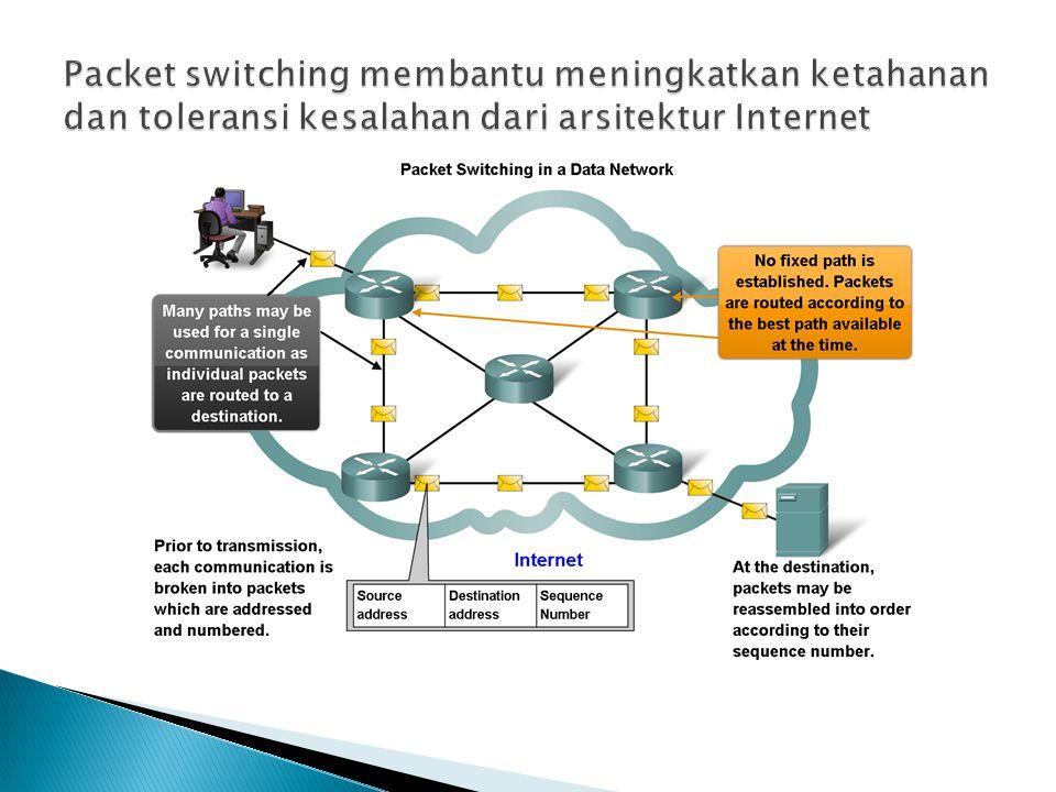 Packet switching membantu meningkatkan ketahanan dan toleransi kesalahan dari arsitektur Internet