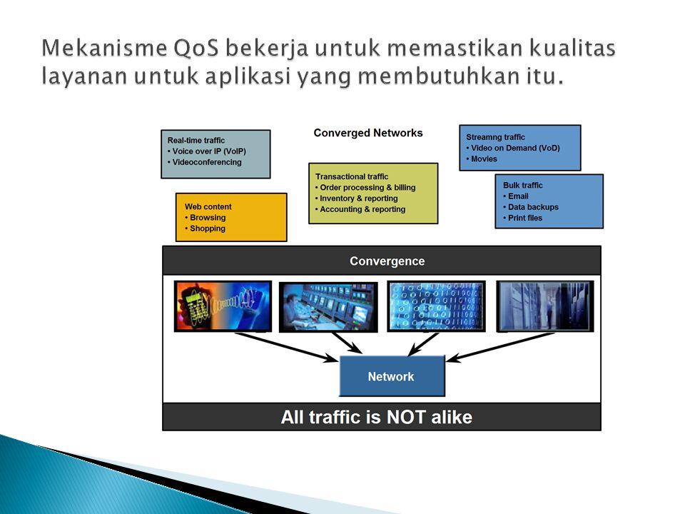 Mekanisme QoS bekerja untuk memastikan kualitas layanan untuk aplikasi yang membutuhkan itu.