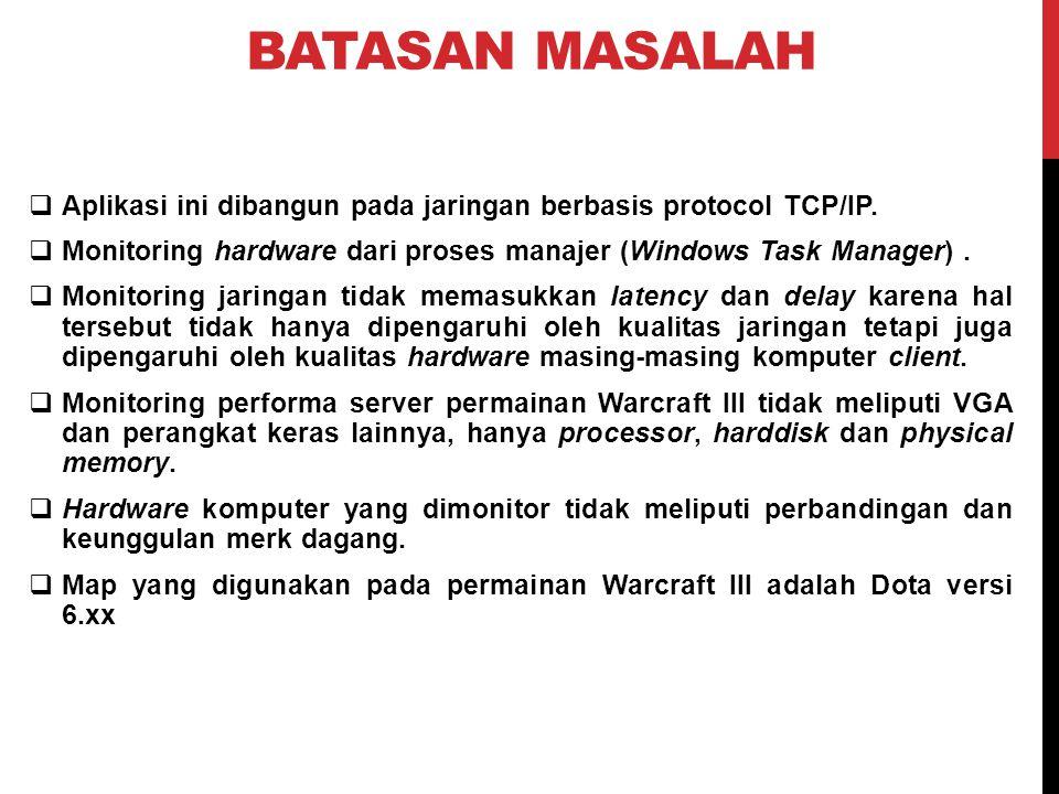 BATASAN MASALAH Aplikasi ini dibangun pada jaringan berbasis protocol TCP/IP. Monitoring hardware dari proses manajer (Windows Task Manager) .