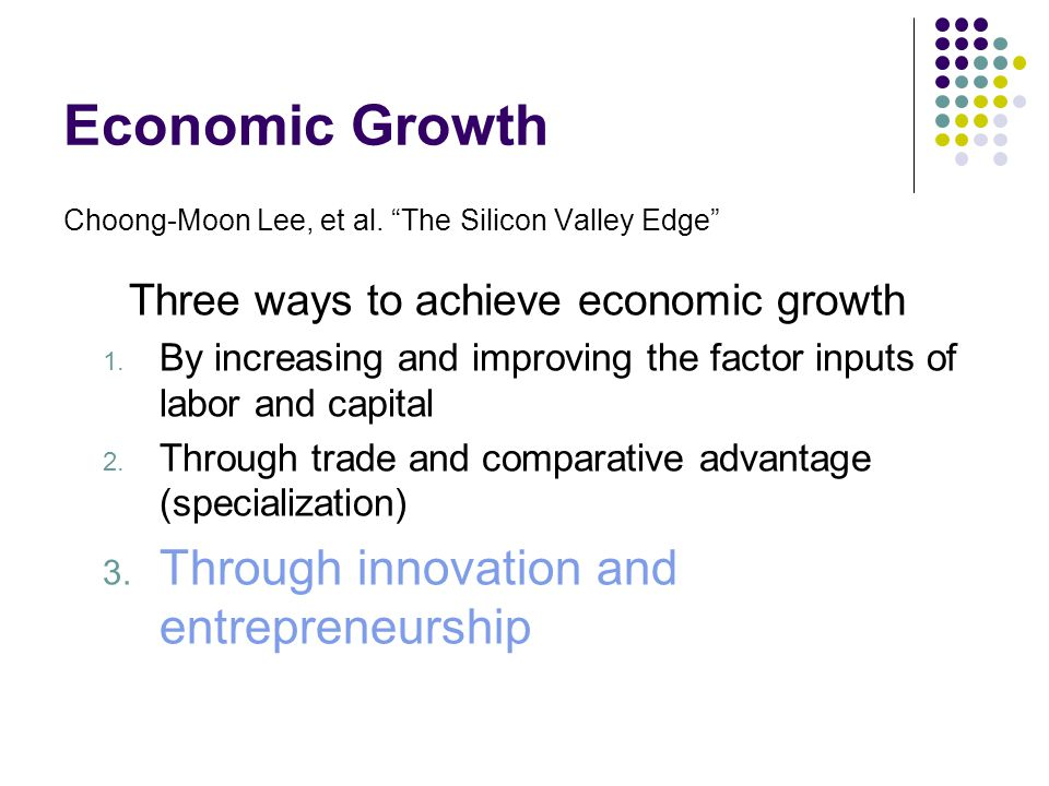 Economic Growth Through innovation and entrepreneurship