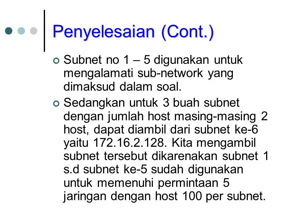 Penyelesaian (Cont.) Subnet no 1 – 5 digunakan untuk mengalamati sub-network yang dimaksud dalam soal.