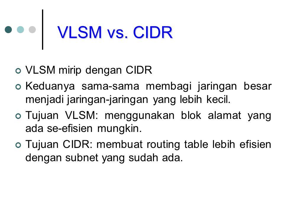VLSM vs. CIDR VLSM mirip dengan CIDR