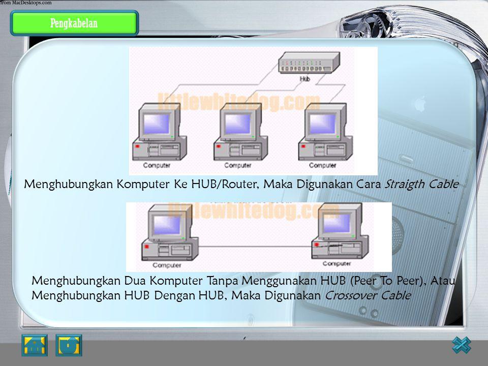 Pengkabelan Pengkabelan. Menghubungkan Komputer Ke HUB/Router, Maka Digunakan Cara Straigth Cable.