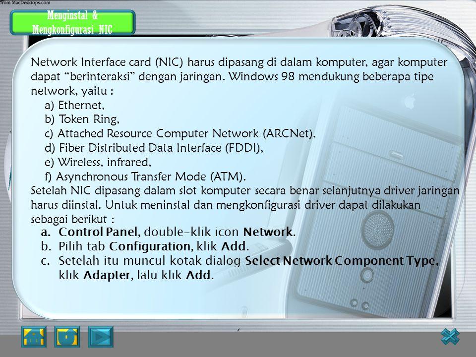 Menginstal dan Mengkonfigurasi NIC