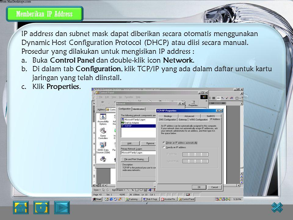 Prosedur yang dilakukan untuk mengisikan IP address :