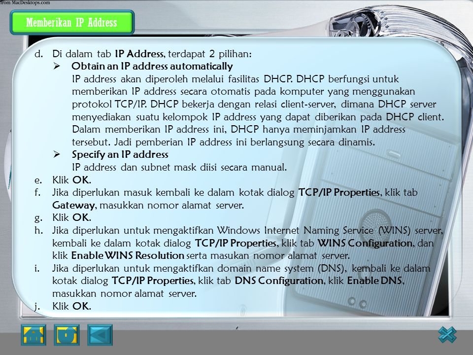 Memberikan IP Address Memberikan IP address