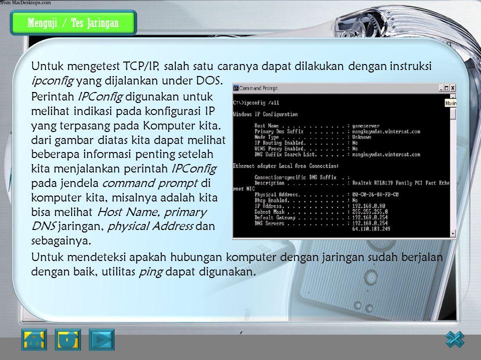 Menguji / Tes Jaringan Menguji / Tes jaringan.
