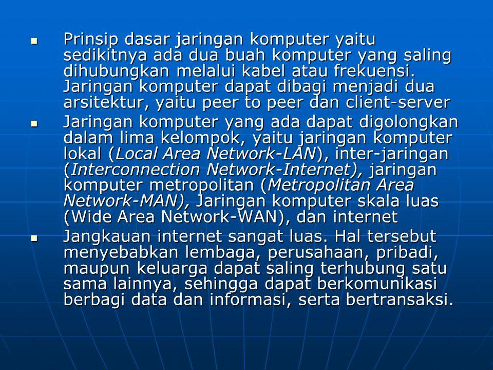Prinsip dasar jaringan komputer yaitu sedikitnya ada dua buah komputer yang saling dihubungkan melalui kabel atau frekuensi. Jaringan komputer dapat dibagi menjadi dua arsitektur, yaitu peer to peer dan client-server