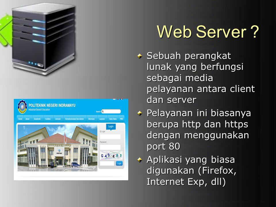 Web Server Sebuah perangkat lunak yang berfungsi sebagai media pelayanan antara client dan server.