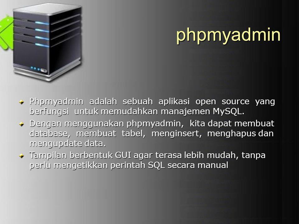 phpmyadmin Phpmyadmin adalah sebuah aplikasi open source yang berfungsi untuk memudahkan manajemen MySQL.