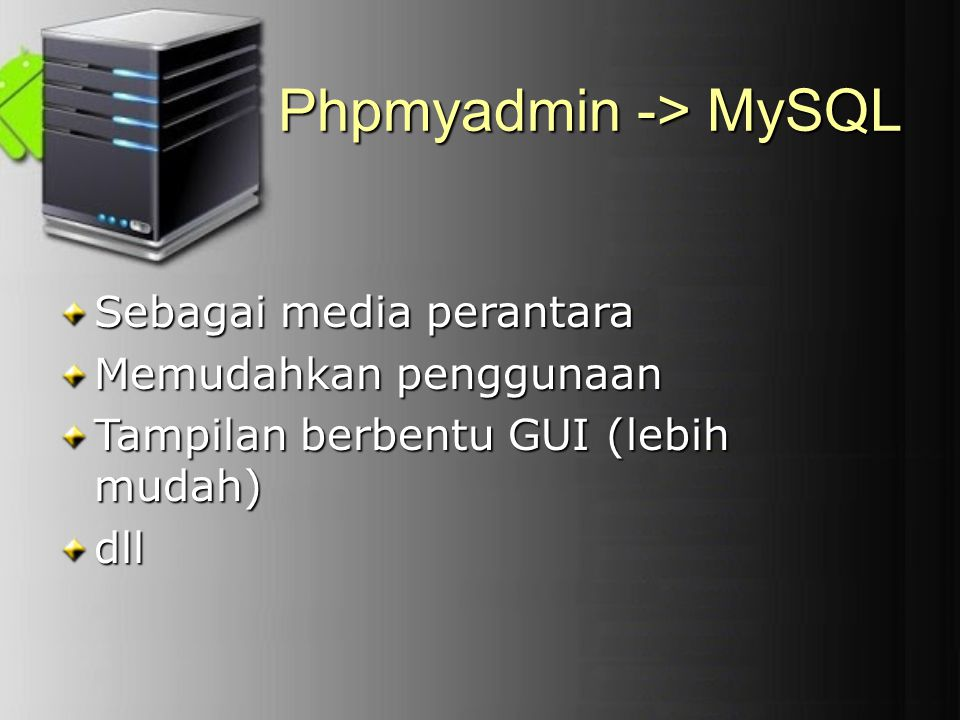 Phpmyadmin -> MySQL