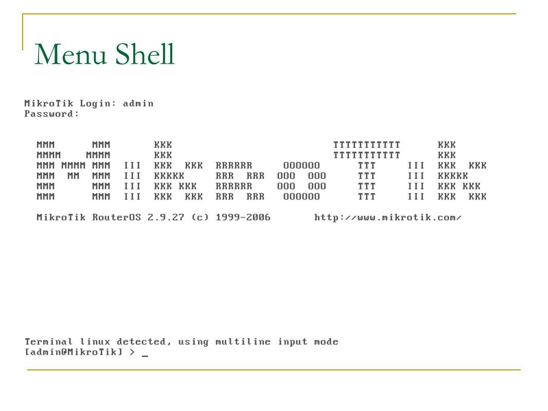 Menu Shell
