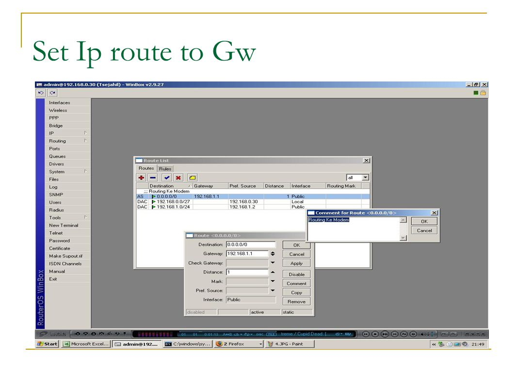 Set Ip route to Gw