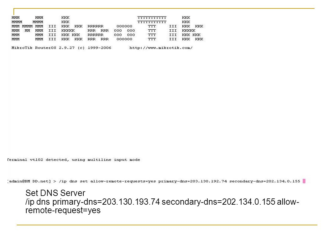 Set DNS Server /ip dns primary-dns=203.130.193.74 secondary-dns=202.134.0.155 allow-remote-request=yes.