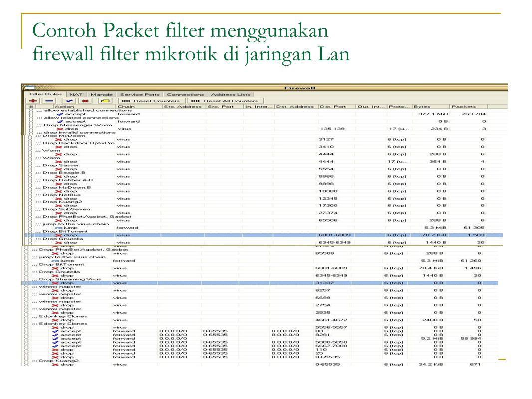 Contoh Packet filter menggunakan firewall filter mikrotik di jaringan Lan