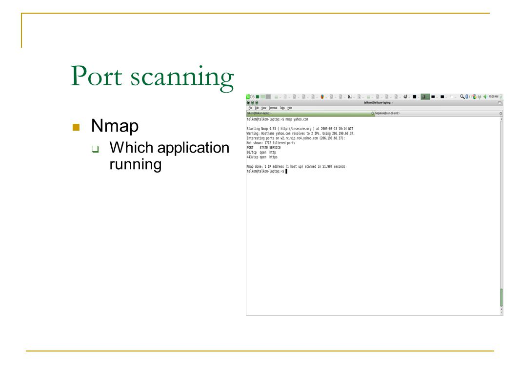 Port scanning Nmap Which application running