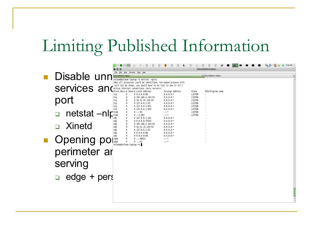 Limiting Published Information