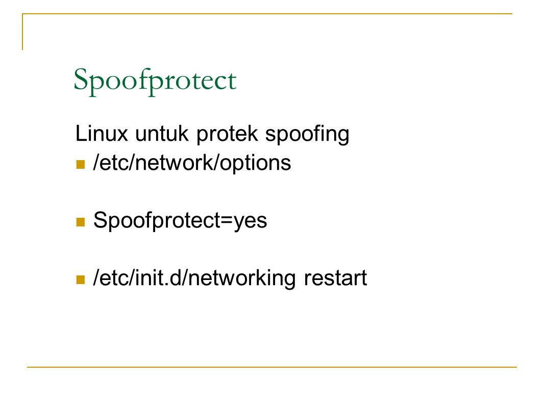 Spoofprotect Linux untuk protek spoofing /etc/network/options